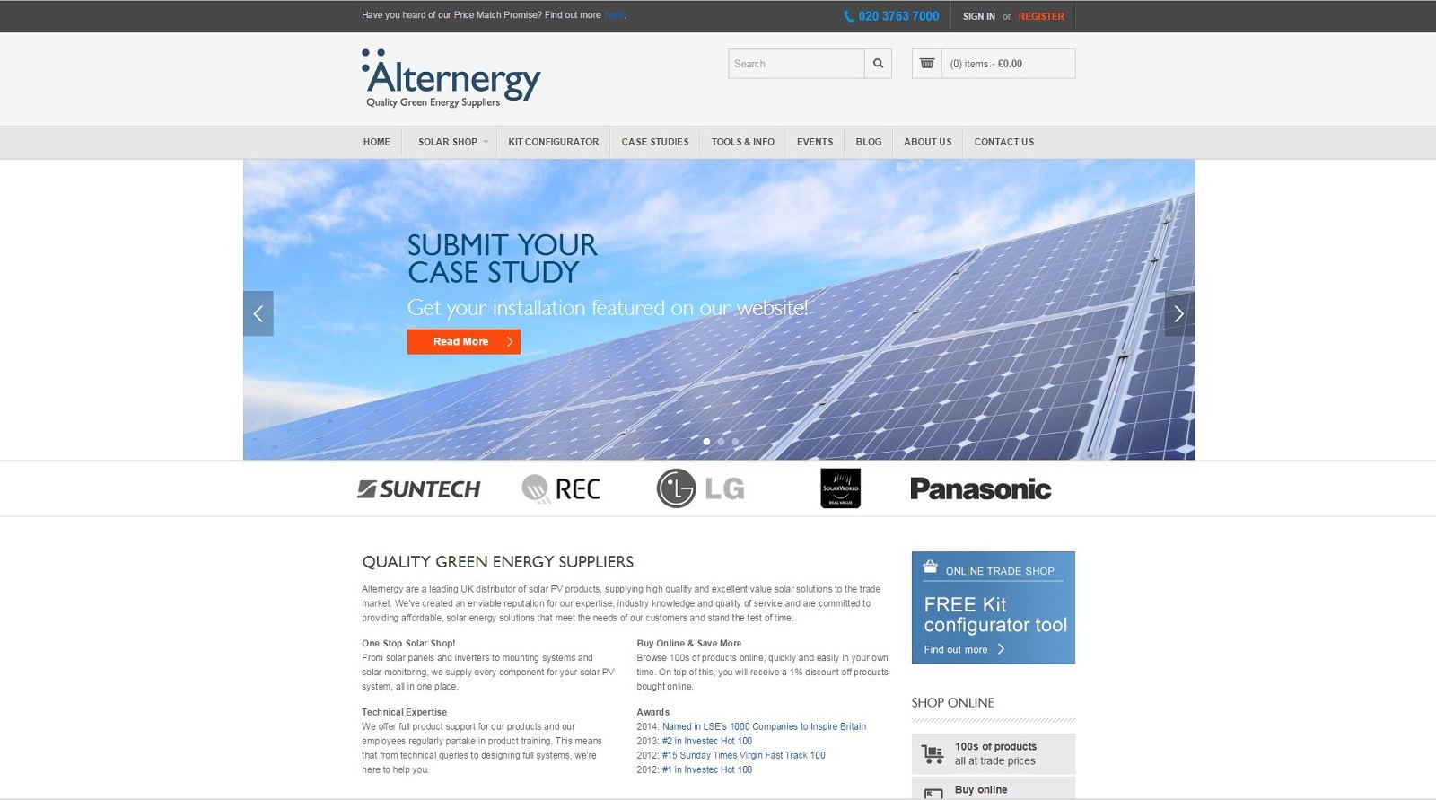 Alternergy homepage design