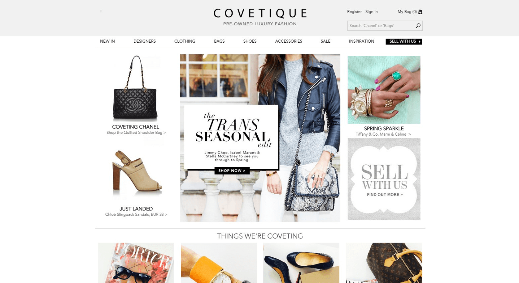 covetique web design