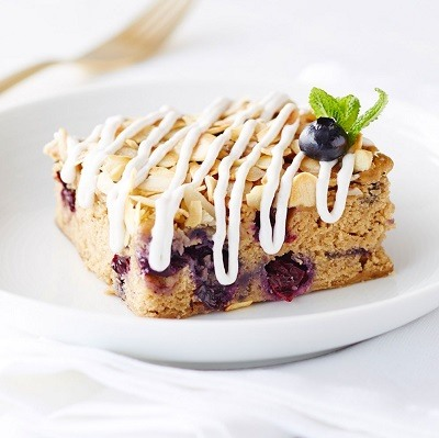 Almond blueberry chia seed slice